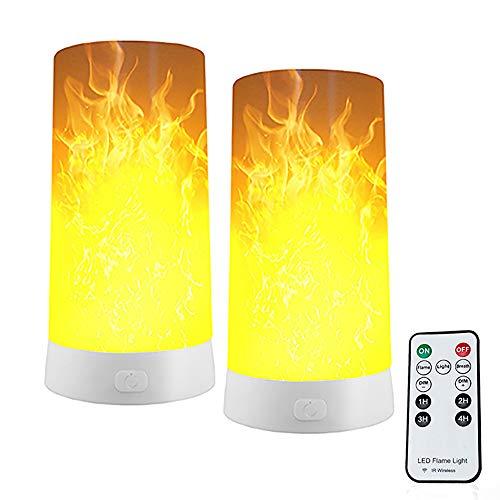 Led flammen lampe,2 Stück LED Flamme Wirkung Licht,USB Wiederaufladbar Tischleuchte Flackernde Lampe mit Magnet und Schwerkraftsensor, Flickering Tischlampen für Zuhause/Hotel/Bar Party Dekoration