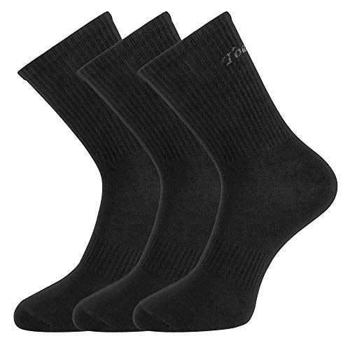 Toes&Feet Herren 3 Paar Schwarz Antibakterielle Anti Schweiß Geruchtilgende Sportsocken Dress Crew Socken, Schwarz, Einheitsgröße