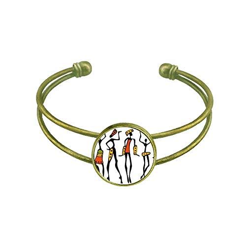 DIYthinker Primitive Africa Aboriginal Black Dance Totems Bracelet Bangle Retro Open Cuff Jewelry