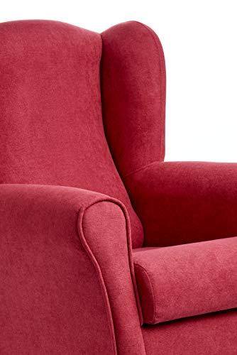 Sillón Butaca Orejera- Tela Anti-Manchas (Acualine), tamaño reducido para salón o Dormitorio. (Medidas : 103 * 74 * 78 cm.) para Ver la TV, Leer o Lactancia. (Granate)