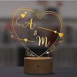 LAUBLUST 3D LED-Nachtlicht für Paare - Personalisiert, Herz Design - Geschenk Hochzeit | Holz-Sockel | Serie: Willich