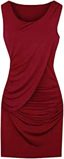Womens Party Dress Plus Size Elegant Summer Fashion Sleeveless Solid Color Dress