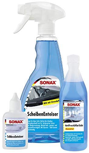 SONAX WinterFitSet (3-teilig) gegen Eis, Frost & schlechte Sicht, Scheibenenteiser (500 ml), Schlossenteiser (50 ml) & AntiFrost&KlarSicht Konzentrat (250 ml) | Art-Nr. 03319000