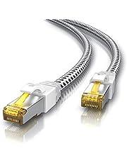 CSL - 15 m CAT 7 kabel sieciowy Gigabit Ethernet LAN kabel - płaszcz bawełniany - 1000 Mbit s - kabel krosowy - Cat.7 kabel surowy S FTP PIMF z wtyczką RJ 45 - modem Switch Router Punkt dostępowy
