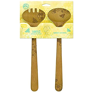 Talisman Designs  Beechwood Salad Serving Set, Honey Bee Design , Laser Etched Fork and Spoon, 12-inches Long