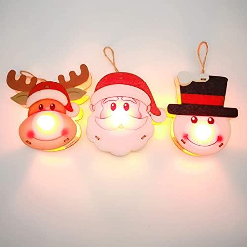 Adornos navideños 3 Piezas Adornos para árboles de Navidad Navidad Luz de Nariz roja y Colgante con muñeco de Nieve de Papá Noel y Adornos Colgantes de Elfo Feliz Navidad