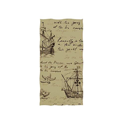SUUJ Toallas de Mano 30x15in, Old Caravel Vintage Sailboat Sea Monster Swimming...