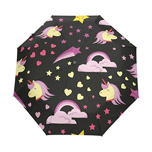 Emoya Paraguas de Viaje Kawaii Unicornio Emoji Arco Iris Resistente al Viento toldo automático Abrir/Cerrar Paraguas Compacto