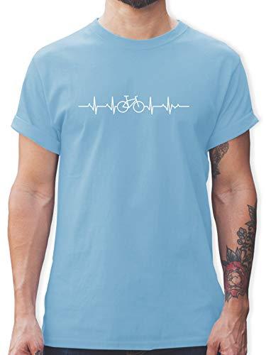 Andere Fahrzeuge - Herzschlag Fahrrad - M - Hellblau - rennrad Motiv Tshirt - L190 - Tshirt Herren und Männer T-Shirts