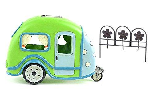 DIY–Miniatur Garten Kit–Lime Grün Solar Camper Trailer und rostigen Farbige Zaun für Verwendung in Fairy oder Gnome Garden
