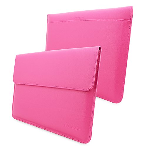 MacBook Pro 13 and Air 13 Sleeve, Snugg - Hot Pink Leather Sleeve Case Protective Cover for MacBook Pro 13 and Air 13 with Touchbar (2016)