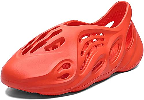 BEILA Zuecos para Hombre y Mujer Zapatos con Soporte de Arco Sandalias de Playa Transpirables Ligeras Zapatillas de enfermería Mulas de Interior al Aire Libre,Rojo,11