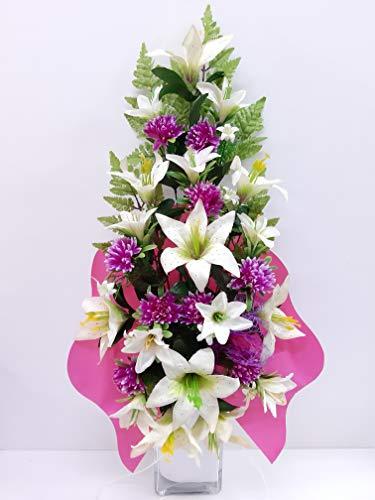dolarestore Ramo para Cementerio, Flores Artificiales de Tela para Todos los Santos Medida 60cm. Crisantemo Lila Crema Campanilla Blanca (104928)