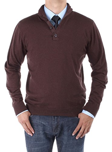 Luciano Natazzi Men's Mock Neck Elbow Patch Quarter Button Sweater Relaxed Fit (XXX-Large, Chocolate)