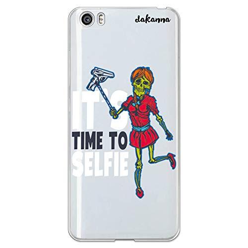 dakanna Funda para [Xiaomi Mi5 / Mi 5] de Silicona Flexible, Dibujo Diseño [Calavera Mujer con Pistola y Frase: It's Time to Selfie], Color [Fondo Transparente] Carcasa Case Cover de Gel TPU