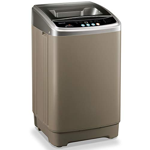 Full-Automatic Washing Machine WANAI Portable Washer Spinner 1.6cu.ft/15lbs Compact Laundry Washing Machine Top Load with Drain Pump 10 Programs 8 Water Level Selections with LED Display