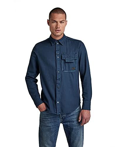 G-STAR RAW Bound Pocket Slim Camicia, Blue (Luna Blue GD 7647-c635), S Uomo