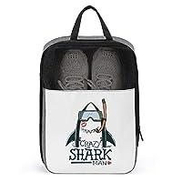シューズケース 靴入れ シューズバッグ クレイジー サメ 靴袋 軽量 小物入れ 靴収納 衣類入れ 収納バッグ シューズ袋 トラベルポーチ シューズポーチ 旅行 アウトドア シューズ収納 ジム ゴルフ 防水 多機能 履き替え 通気