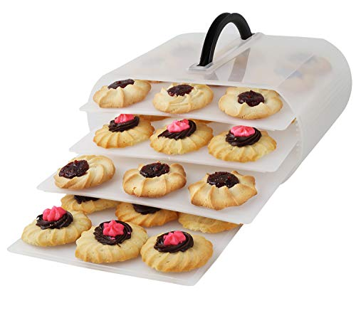 Cookie and Cake Carrier Container with Handle and Lid 4 Trays Cupcake Storage Transport Holder Box 2 Devil Eggs Trays Included