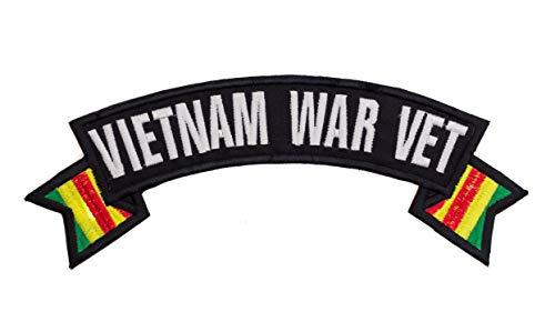 Vietnam War Vet White Banner Iron On Sew On Top Rocker Large Back Patch for Jacket Vest