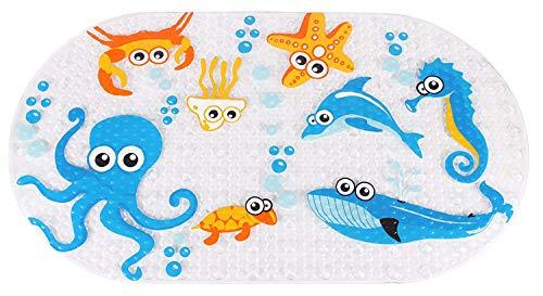 Ruiuzi - Alfombrilla de ducha de goma de PVC antideslizante, con ventosa y ventosa, lavable a máquina, antibacteriana, Octopus, 27*15 Inch