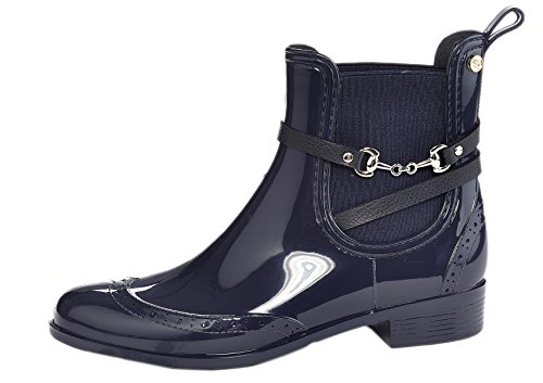 Henry Ferrera Women's Survivor Horsebit Buckle Leather Waterproof Rain Boots,Navy,6