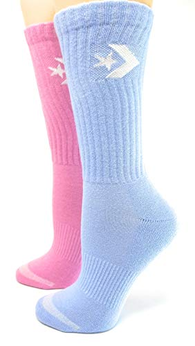 Converse Women's Half Cushion Crew Socks Lt Orchid/Blue Chill 2-Pack Size 6-10