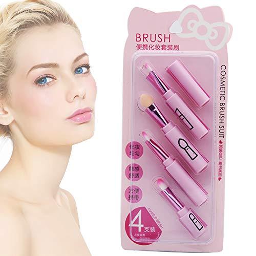 4PCS maquillage portable Brosse pour les débutants, Pinceau à lèvres, brosse à sourcils, fard à paupières brosse Combinaison Set Rose