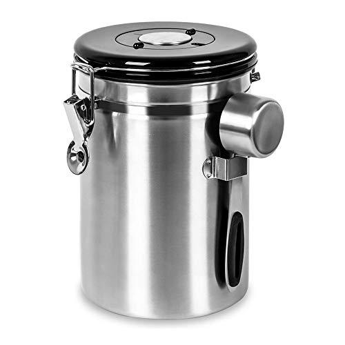 Kaffeedose Luftdicht mit Messlöffel, Kaffeedose Edelstahl Kaffeebohnenbehälter Vorratsdose Aromadose Vakuum Dose für Kaffeebohnen, Kaffeepulver, Tee, Nüsse, Kakao und Mehr, 1,8Liter
