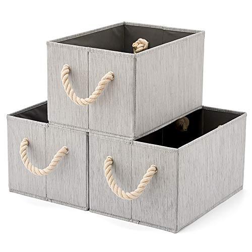 EZOWare 3 pcs Cajas de Almacenaje, Caja Decorativa de Tela Plegable Resistente con Manijas para Ropa, Juguetes, Armario, Dormitorio, Estanterías y Mas - Color Gris Natural