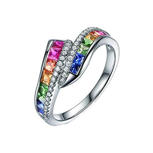 KnBoB Damen Verlobungsring 750 Weißgold Regenbogen Quadrat Bunt Saphir Tsavorit Rubin 1.3ct mit Weiß Diamant 0.14ct Ring Größe 51 (16.2)