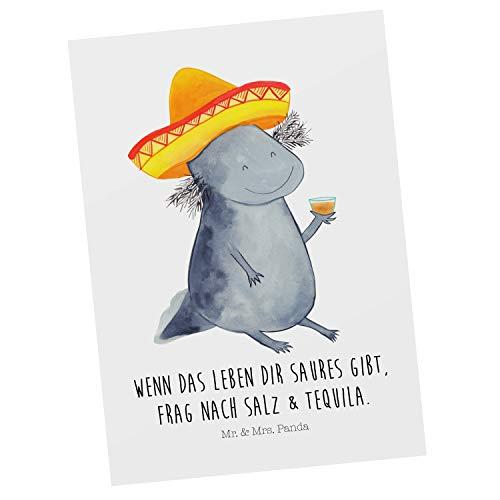 Mr. & Mrs. Panda Grußkarte, Geschenkkarte, Postkarte Axolotl Tequila mit Spruch - Farbe Weiß