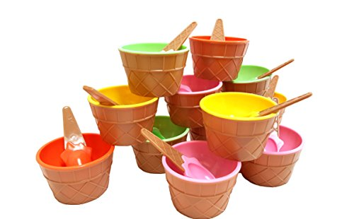 16 Each COMINHKPR131058 Eco Friendly Plastic Spoons Paper Umbrellas Clear Plastic Banana Split Boats 12 oz