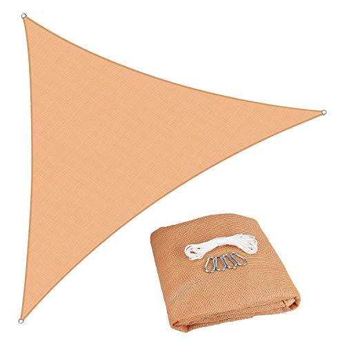 11'9-3/4'x 11'9-3/4' x 11'9-3/4' Triangle Sun Shade Sail, Beige Triangle Sun Shade Cover, UV Block Shelter Canopy Awning for Patio Yard Pergola Outdoor Patios