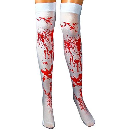 EROSPA® Blutige blutverschmierte Knie-Strümpfe Overknees Horror Halloween Karneval Fasching Party Zombie weiß rot Blood Blutflecken Krankenschwester Operation Stockings Unfall