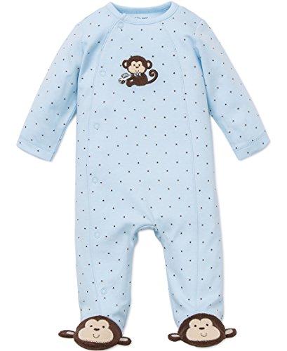 Little Me Baby-Boys Monkey Star Footie, Light Blue, Newborn