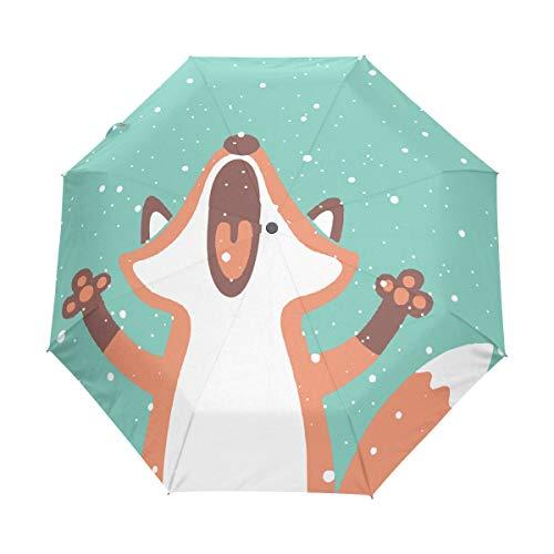 Bigjoke Regenschirm, 3-fach faltbar, automatischer Öffnung, niedliches Tier-Motiv, winddicht, für Reisen, leicht, kompakt für Jungen, Mädchen, Männer, Frauen
