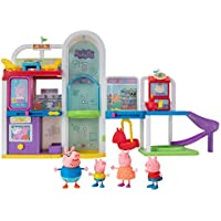 Peppa Pig Shopping Mall with Family Playset (4 Character Toy Figures, 2 Chairs, 1 Pizza Table, 1 Toy Boat)