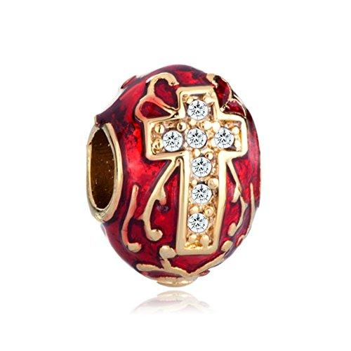 Korliya - Pendente per braccialetti a forma di uovo di Pasqua Fabergé, di colore rosso e decorato con una croce