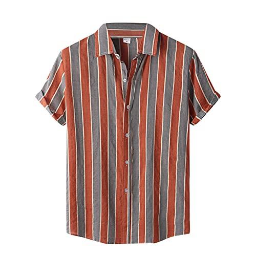 Camisa de manga corta para hombre, de verano, con solapas, con estampado de flores, para el tiempo libre, para la playa I_rojo. XXL