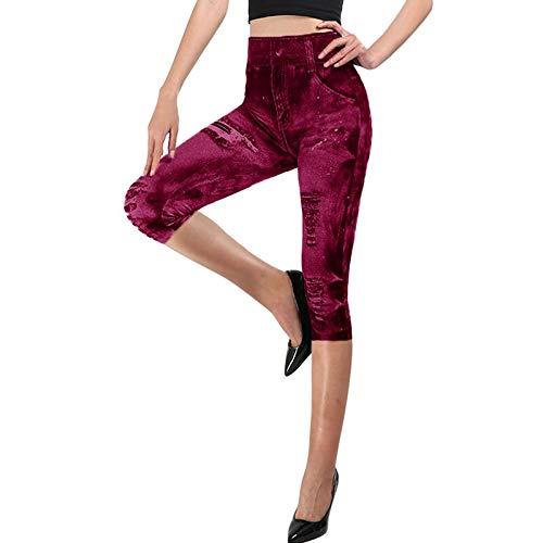 Tivivose De la Mujer Pantalones Vaqueros de imitación Yoga Stretch Pantalones Delgados Ocasionales Polainas Deporte Aptitud de Las Mujeres Denim Jeans Pantalones Caderas lápiz de Las Medias