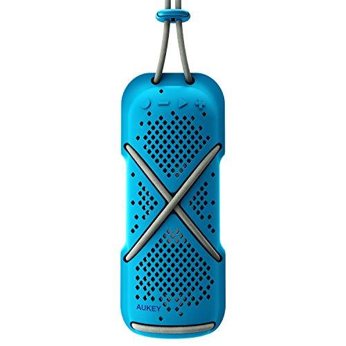 AUKEY Tragbarer Bluetooth Lautsprecher, Spritzwasserfester Outdoor Funklautsprecher mit Dual-Treiber, Kabel & Clip, Freisprechen für iPhone, Samsung Handys usw. (Blau)