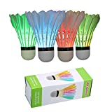 ZHENAN LED Badminton Shuttlecocks Dark Night Glow Birdies Lighting for Outdoor & Indoor Sports Activities (Feather_4pcs)