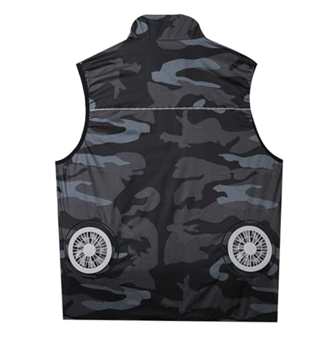 Phil Beauty Ooling Fan Jacket Air-Conditioned Cooling For men with 2 Fan 3 Speed Adjustable Outdoor Sports Jacket USB Sleeveless Cooling For Camping Trips,camouflage,4XL