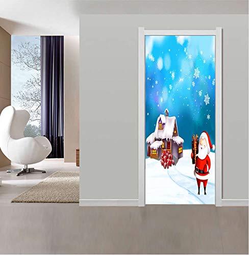 wlflyh Weihnachtsmann GIFS Tür Aufkleber DIY Wandbild Selbstklebende Tapete Abnehmbare wasserdichte Poster Aufkleber Wohnkultur Aufkleber 95X215 cm