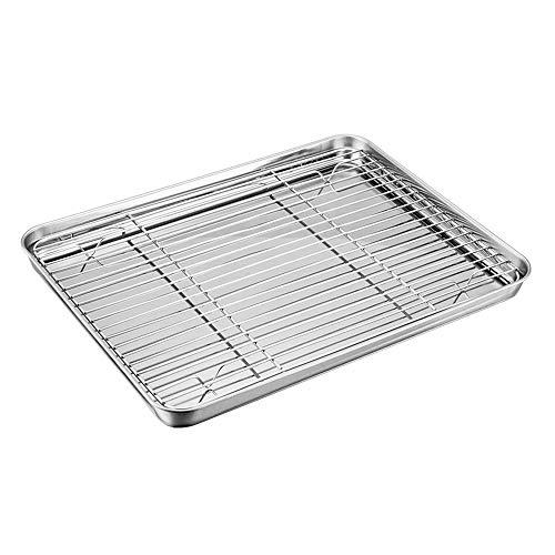Ensemble de plaque à four et grille TeamFar en acier inoxydable, mini-plat de cuisson avec grille de refroidissement, sain et non toxique, poli miroir et facile à nettoyer, passe au lave-vaisselle
