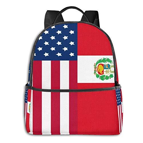 AOOEDM Cool School Backpack, Water-Resistant Teens Boys School Bookbags College Student Travel Laptop Bag (Peru)