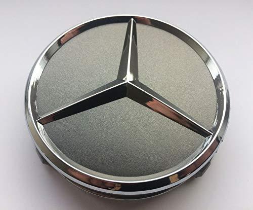 LogoEmbl Felgendeckel MercedesBenz 4 x 75mm Nabendeckel Radnabenkappen Radkappen Felgenkappen Nabenkappen Wheel Caps Grau/Chrom