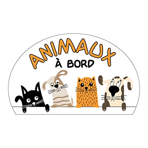 Sticker Animaux à Bord - Dimensions 8 x 13 cm - Protection Anti UV