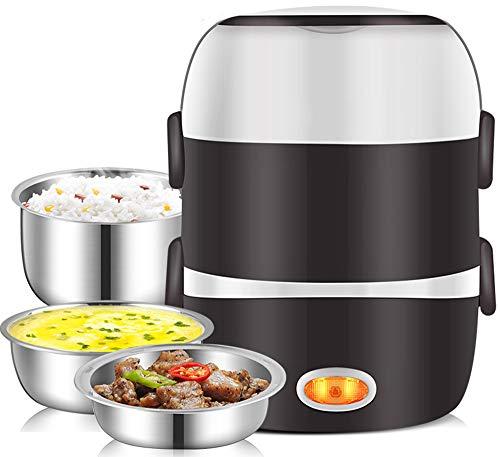 KangHan Mini elektrische rijstkoker roestvrij staal 3 lagen stoom draagbare maaltijd thermische verwarming broodtrommel levensmiddelcontainer warmer